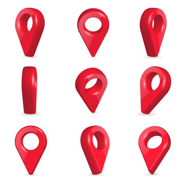 Creative vector illustration of locator, pin realistic 3d map pointers in various angle isolated on transparent background. Art design location symbols template. Abstract concept navigation element