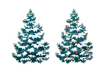 Vector illustration of decorated christmas tree in snow on white background. Blue fluffy christmas pine, isolated on white background 2.3