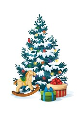 Vector illustration of decorated christmas tree with gifts and toys on white background. Blue fluffy christmas pine in snow 2.1
