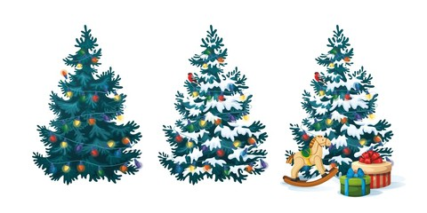 Vector illustration of decorated christmas tree with gifts and toys on white background. Blue fluffy christmas pine in snow 2.2