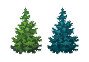 Realistic vector illustration of fir tree on white background. Green and blue fluffy pines, isolated on white background 1.1 Wall mural
