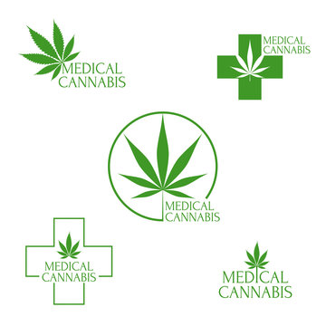 Set of vector logo with medical marijuana, cannabis leaves.
