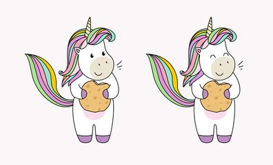 Set of unicorn characters on a white background. Unicorn with cookies. Flat illustrations for design.