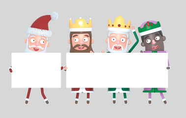 Tree Magic Kings  and Santa Claus holding White placards. Isolated..