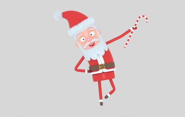 Santa Claus standing and holding a Candy. Isolated.