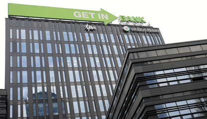 A logo of Getin Noble Bank is seen on their building in Warsaw