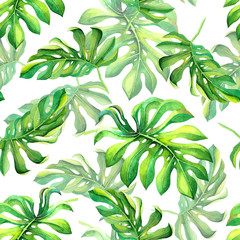 Tropical green leaves pattern isolated on white background. Seamless exotic summer texture for decoration, wedding invitation design, carnival decor, banner, wallpaper, fabric texture design, print