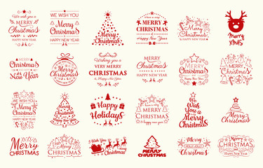 Set with Christmas decorations and greetings. Vector.