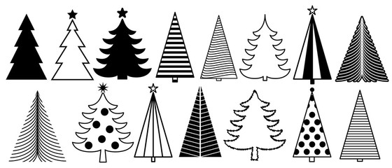 Christmas tree graphic art set. New Year fir tree collection. Vector and illustration