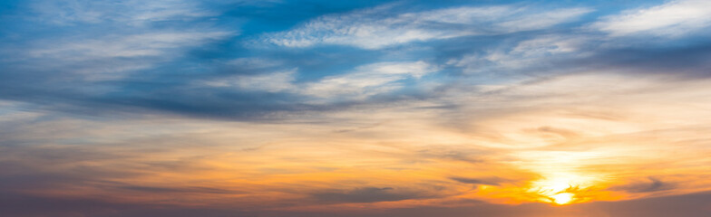 Blue and orange sky at sunset in Sardinia