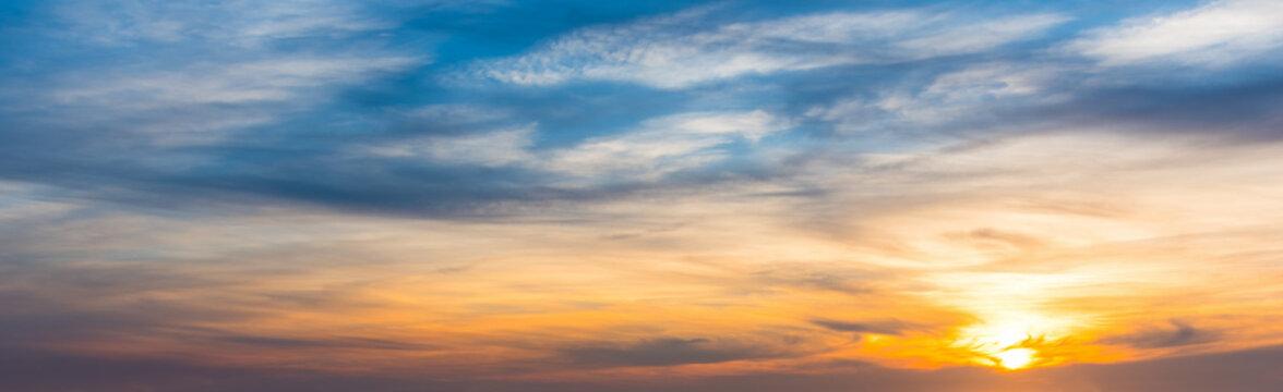 Blue and orange sky at sunset in Sardinia