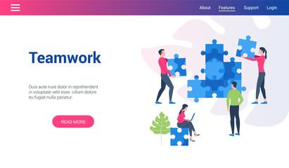 Flat design concept on teamwork theme. Vector illustration mock-up for website and mobile website. Landing page template.