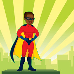 Illustration of powerful African American strong man hands on hips pose with superhero red costume watching city skyline