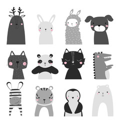Black and white set of cute animals. Childish graphic. Vector hand drawn illustration.