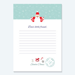 Santa Claus letter. Decorative blank template A4.
