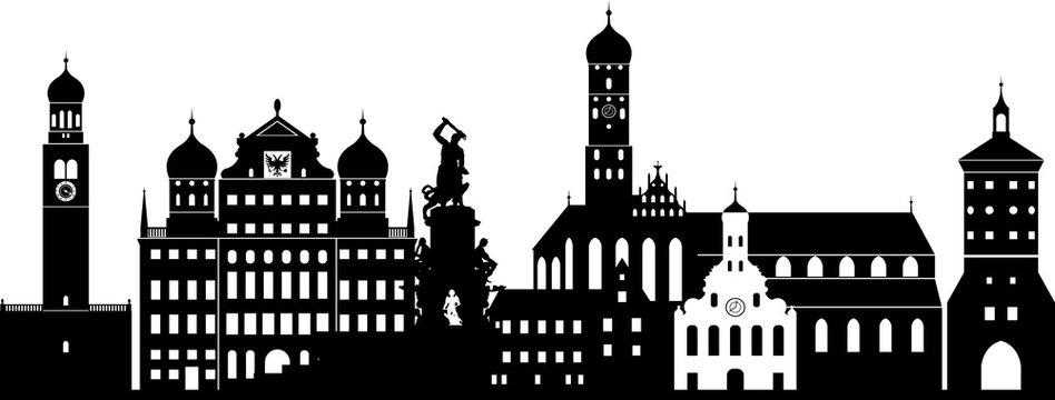 Augsburg skyline detailliert // Vektor