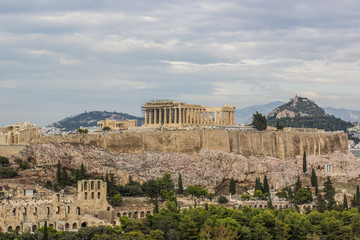 Canvas Prints Athens Ancient temple Parthenon in ruins of Acropolis on rock surrounded Athens - capital of Greece landmark