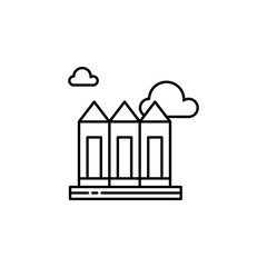 City, skyscrapers, building outline icon. Element of landscapes illustration. Signs and symbols outline icon can be used for web, logo, mobile app, UI, UX.