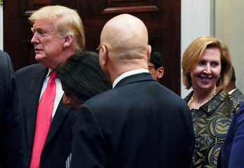 White House Deputy National Security Advisor Ricardel appears with U.S. President Trump at Diwali ceremony at the White House in Washington