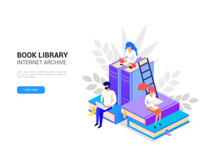 Isometric library concept. Web archive and e-learning tutorials for social media banner. Online education and internet studying. Digital book 3d vector illustration