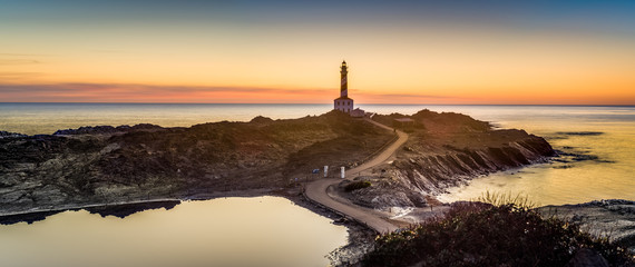 Favaritx Lighthouse in Minorca, Spain.