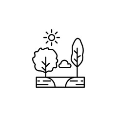 Trees, sunny, cloud, lake outline icon. Element of landscapes illustration. Signs and symbols outline icon can be used for web, logo, mobile app, UI, UX.