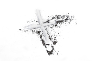 Christian cross or crucifix drawing in ash, dust or sand as symbol of religion, sacrifice, redemtion, Jesus Christ, ash wednesday, Ash Wednesday concept
