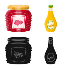 Vector design of can and food sign. Set of can and package vector icon for stock.