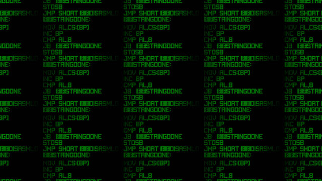 A repeatable seamless pattern: source code on a computer LCD screen, assembler language instructions, leds. Green on black.