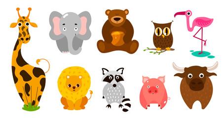 Set of cute cute animals. Giraffe, lion, elephant, pig, bull, bear, owl.
