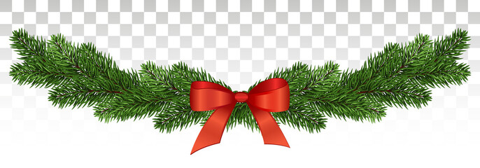 Magnificent pine garland with a red bow. Christmas design. vector .eps10. Wall mural