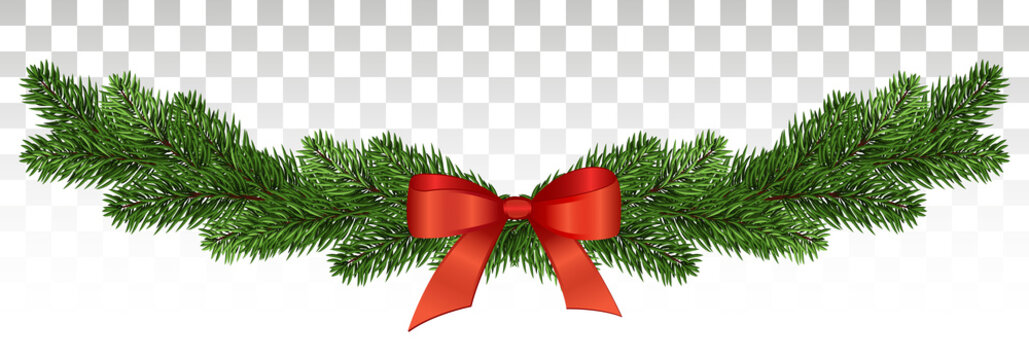Magnificent pine garland with a red bow. Christmas design. vector .eps10.