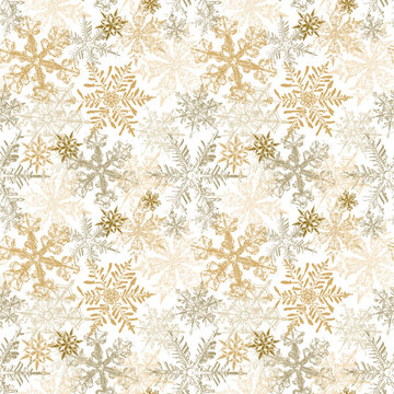 Gold Snowflakes Seamless Pattern, Christmas Vector Background