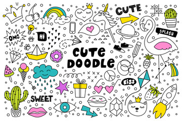 Set of cute and colorful doodle hand drawing