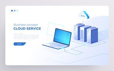Slide, hero page or digital technology banner. Cloud service business concept. Isometric illustration