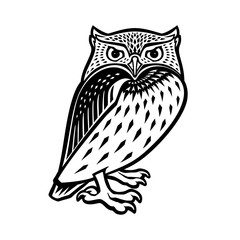 Owl illustration in tribal style. Ethnic patterned illustration for antistress coloring book, tattoo, poster, print, t-shirt. Vector.