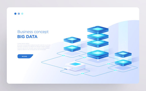 Slide, hero page or digital technology banner. Big data business concept. Isometric illustration