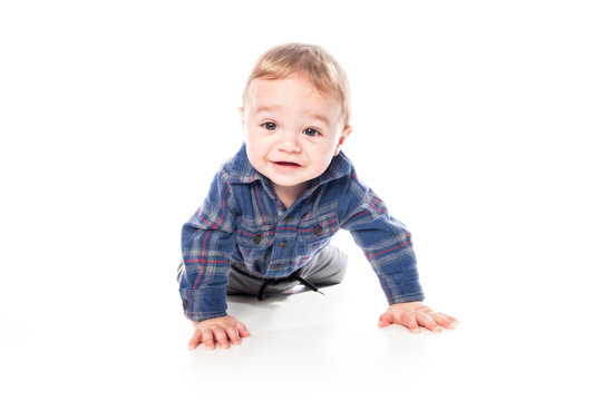 A Cute Little baby Boy Isolated on the White Background.