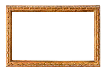 Wooden decorative picture frame on white backround