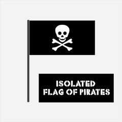 isolated pirates flag and logo skull and crossbones