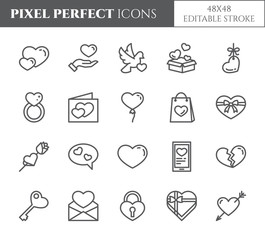 Love and Valentines Day theme line icons with editable stroke isolated on white background.