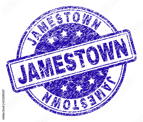 JAMESTOWN Stamp Seal Imprint With Grunge Texture Designed Rounded Rectangles And Circles Blue