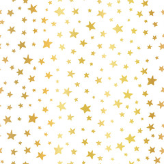Seamless vector background Handdrawn stars gold foil. Pattern for Christmas and celebrations. Hand drawn golden stars on white. For gift wrapping paper, greeting cards, wallpaper, posters, web banners
