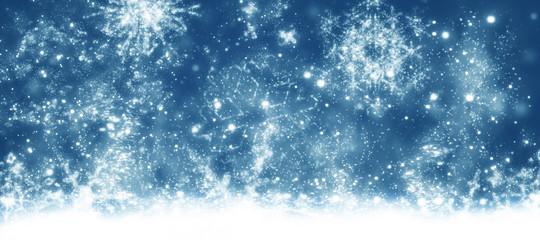 Christmas background, blue sky, stars, banner