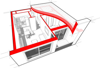 Perspective cutaway diagram of a one bedroom apartment completely furnished with flat roof cutaway over it