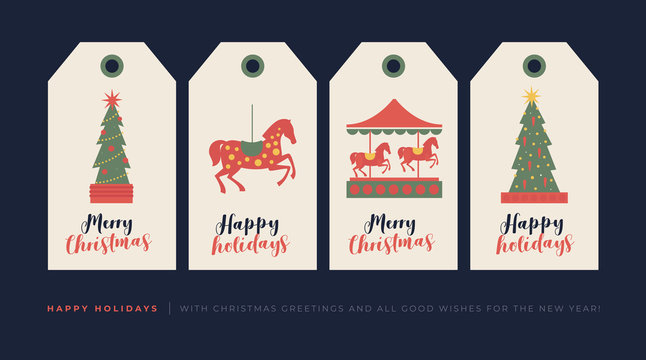 Set of creative gift tags with drawing elements for Christmas and New Year holiday. Decorative vector image of horse, carousel, Christmas tree to decorate gifts. Vector design of seasonal badge.