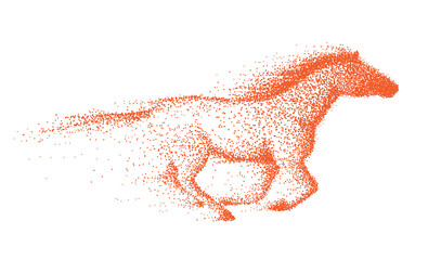 Motion of wild horse made of dots.Abstract vector illustration