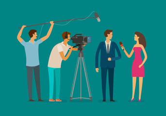 Reportage, television concept. Crew or journalist take interview. Cartoon vector illustration