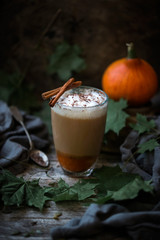 Vegan pumpkin and almond latte with cinnamon