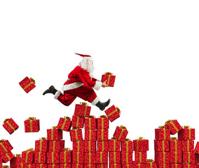 Santa Claus goes fast over Christmas gift
